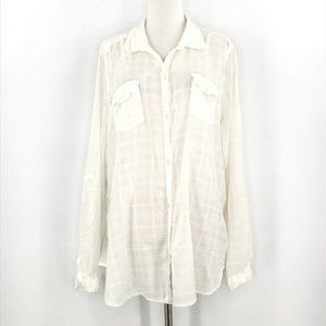 Old Navy White Plaid Button Up Semi Sheer Shirt